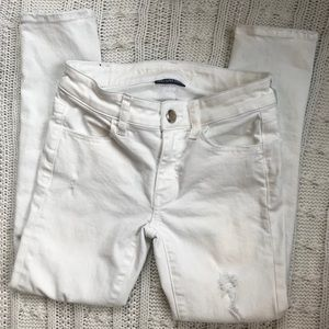 White American Eagle Jegging Cropped Jeans